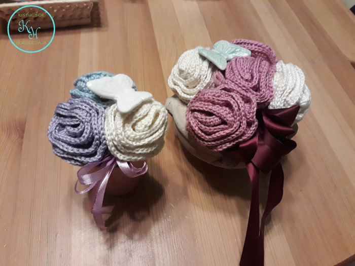 Horgolt rózsacsokor